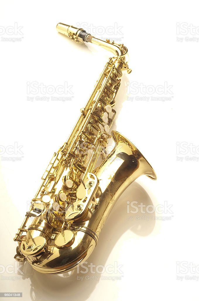 saxophone in white background stock photo