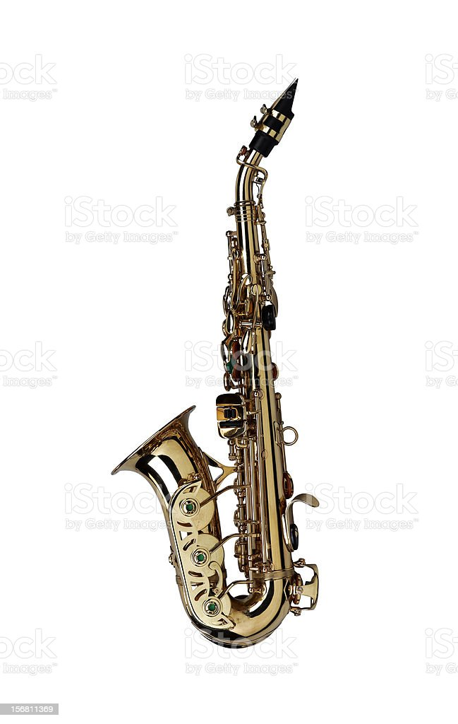 saxophone isolated under the white background ( Clipping path ) stock photo