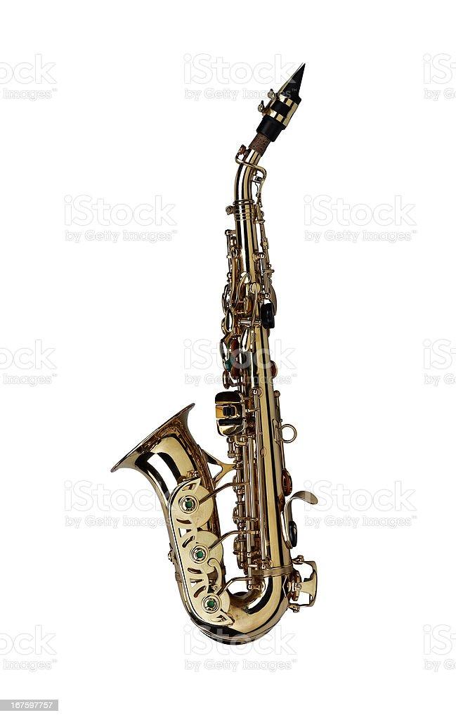 saxophone isolated under the white background royalty-free stock photo