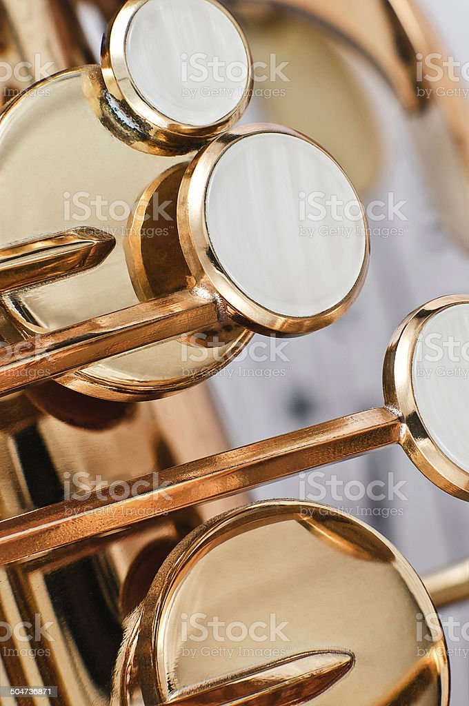 Saxophone keys closeup stock photo