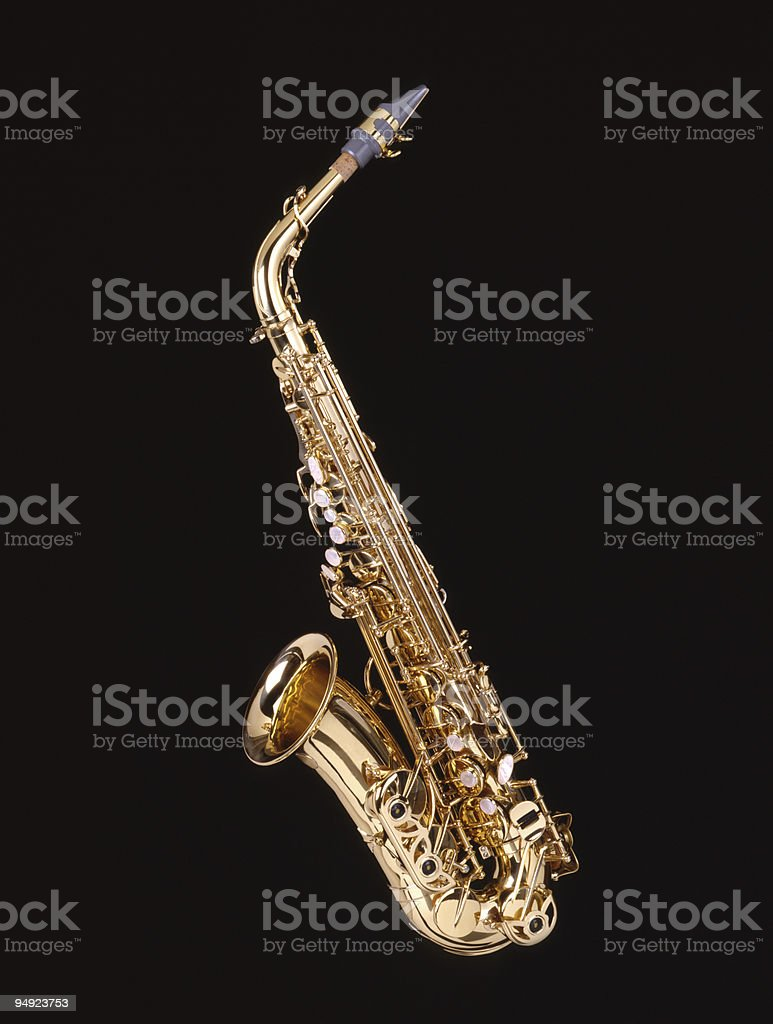 Saxophone on Black Isolated 4x5 Film royalty-free stock photo