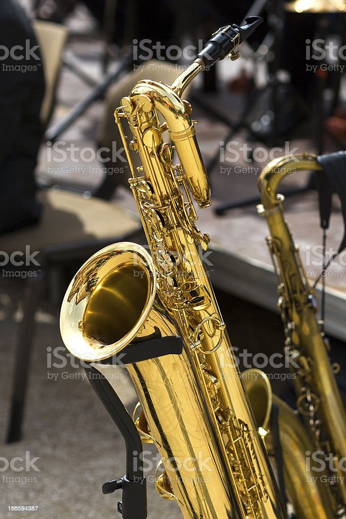 Saxophone on stage royalty-free stock photo