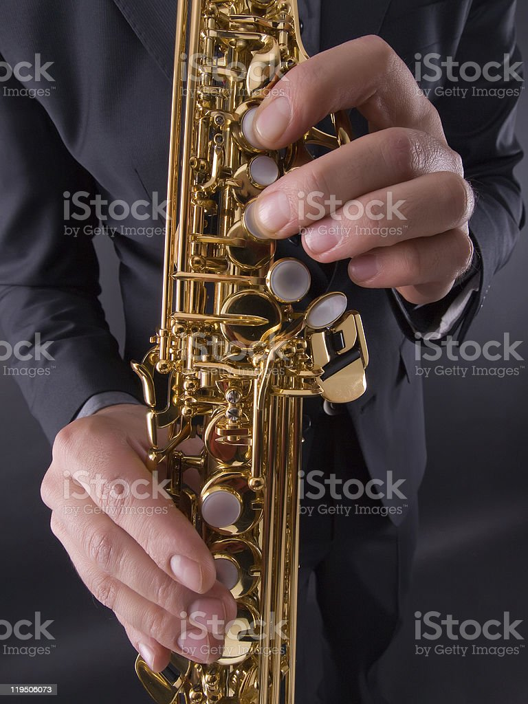 saxophone player closeup stock photo