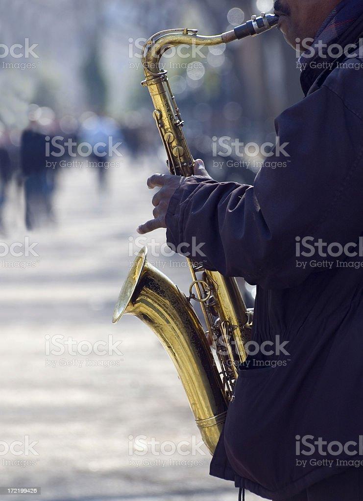 Saxophone Player - Street Musician 2 stock photo