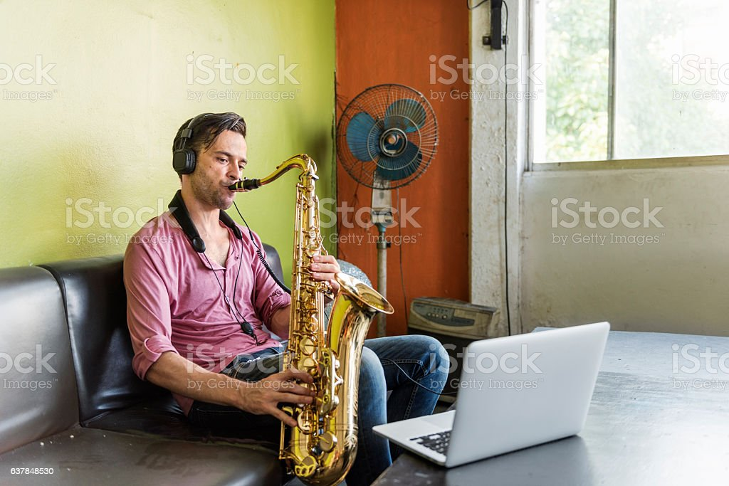 Saxophone Symphony Musician Jazz Instrument Concept stock photo