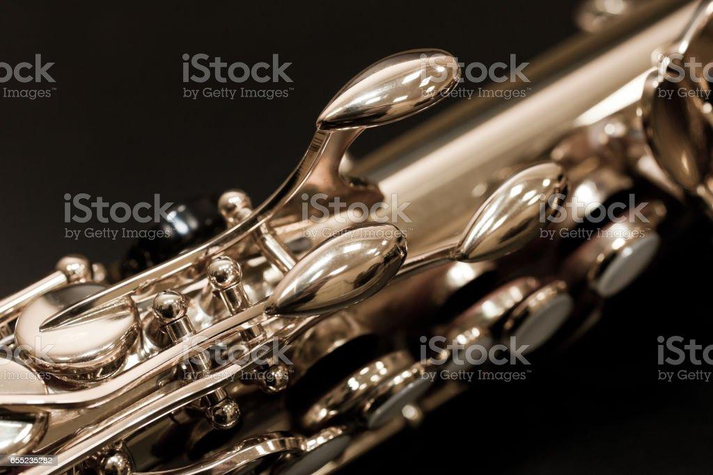 Saxophone valves stock photo
