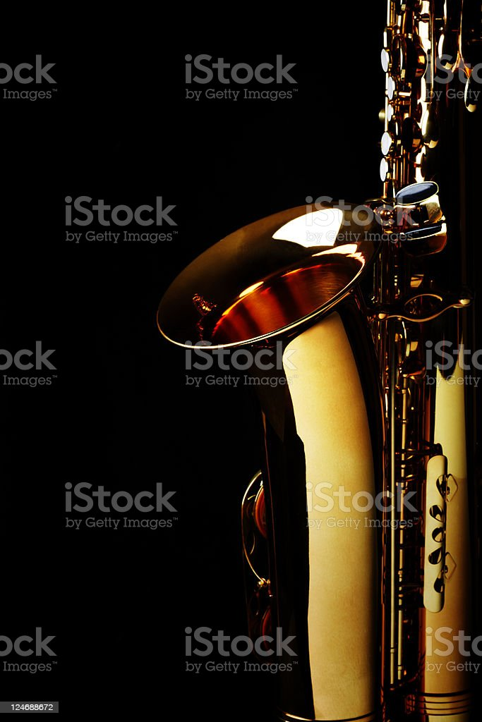 Saxophone with Black Background. Color Image royalty-free stock photo