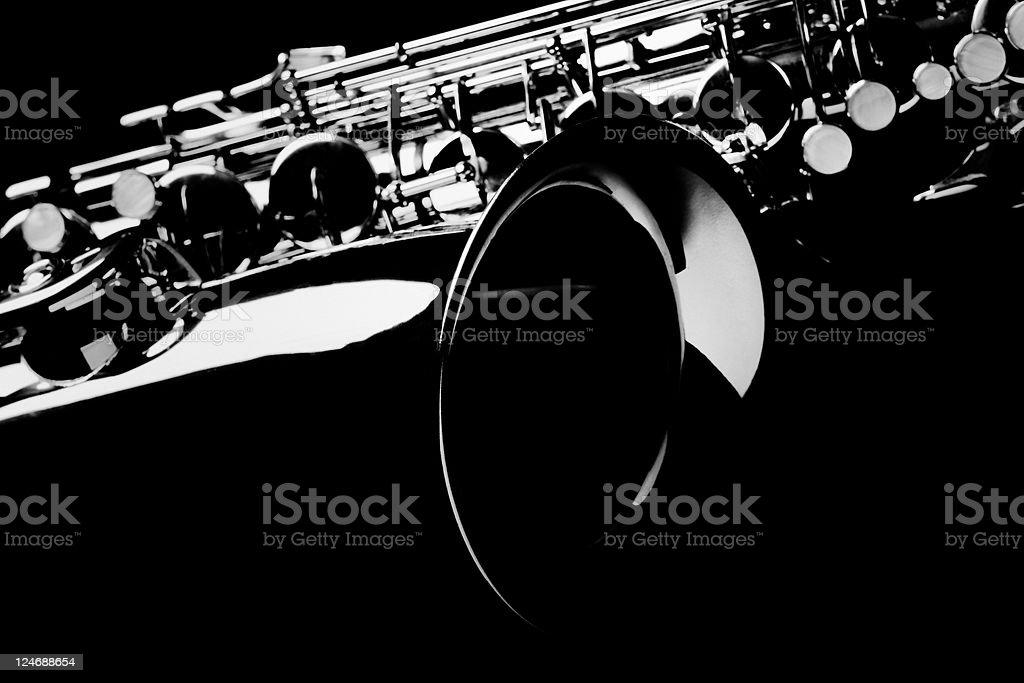 Saxophone with Black Background. stock photo