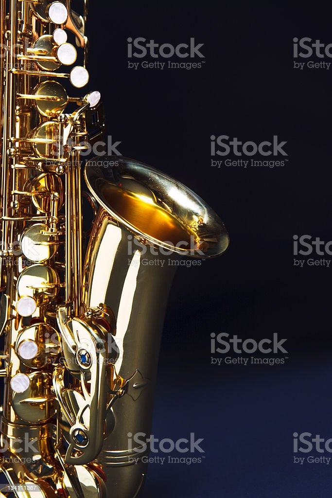 Saxophone with copy space royalty-free stock photo