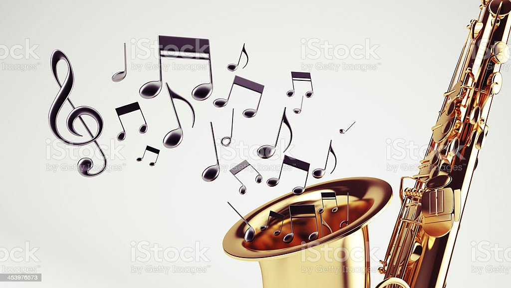 Saxophone with musical notes coming out of the end stock photo