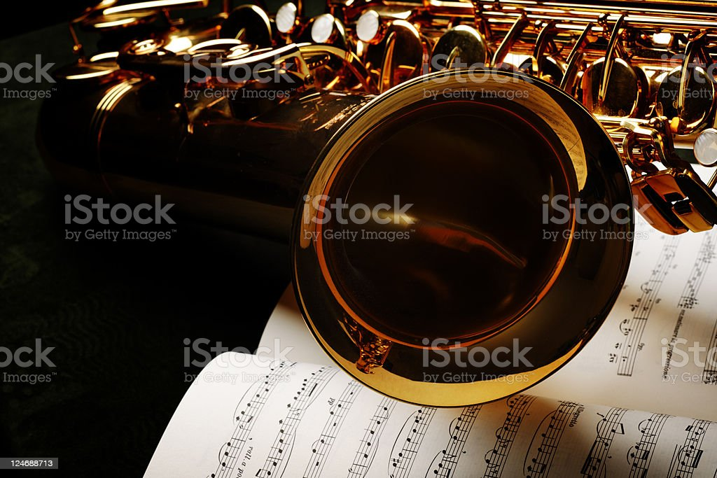 Saxophone with Sheet Music stock photo