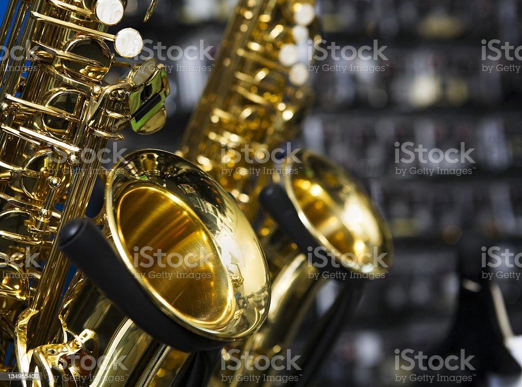 Saxophones stock photo
