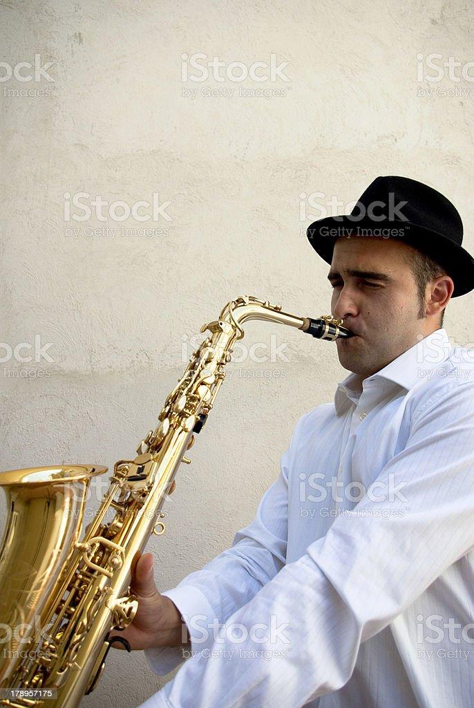 Saxophonist playing jazz. royalty-free stock photo