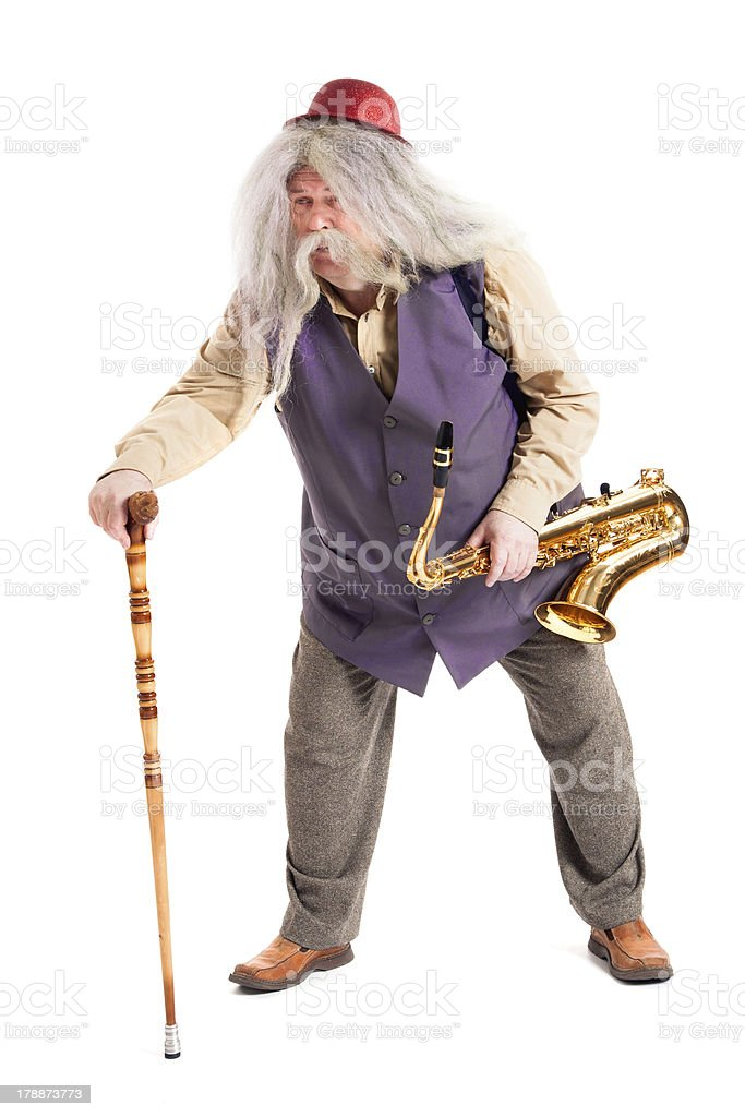 saxophonist with a cane royalty-free stock photo