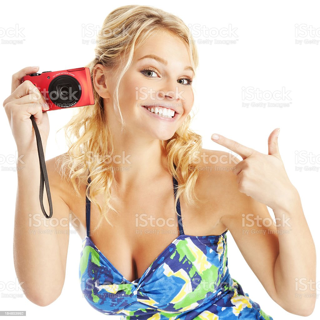 Say Cheese: Attractive Young Woman Having Fun with Digital Camera royalty-free stock photo
