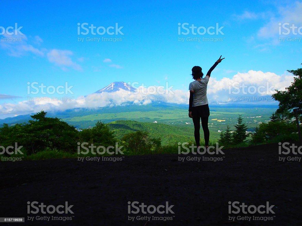 say hai to Fujiyama stock photo