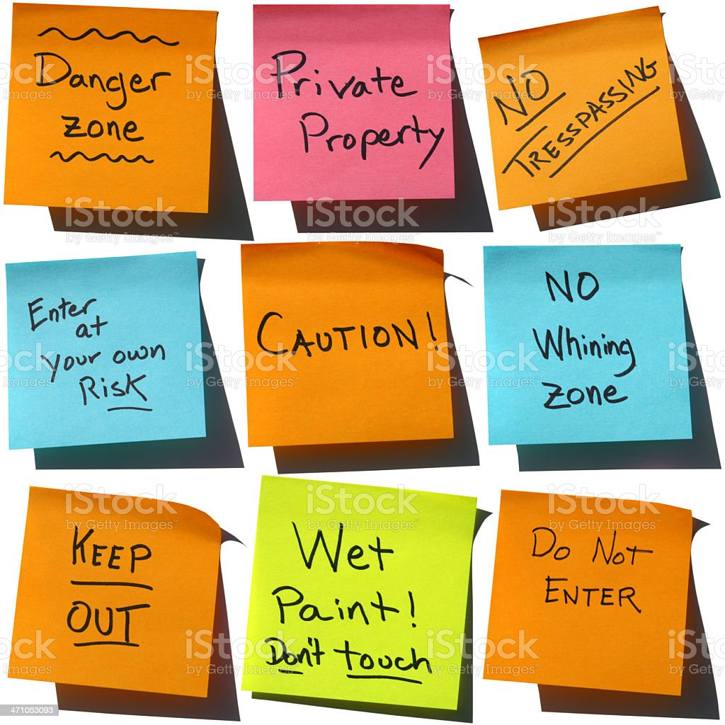 Say it with Stickies: Warnings! Post-it Notes royalty-free stock photo