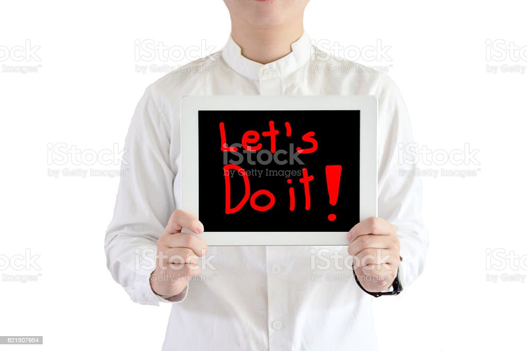 say let's do it ,with white background royalty-free stock photo