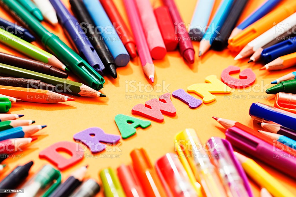 DRAWING say play letters surrounded by stationery: it's art class! royalty-free stock photo