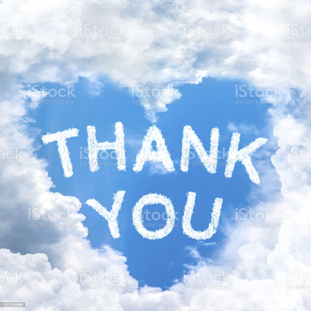 Say Thank you concept tell by shy cloud nature stock photo