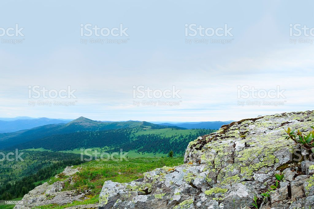 Sayan Mountains. View from the top. stock photo