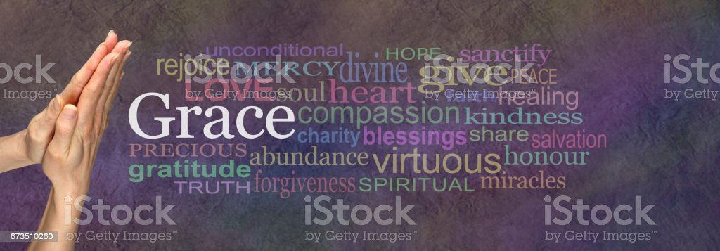 Saying Grace Prayer Hands Word Cloud stock photo