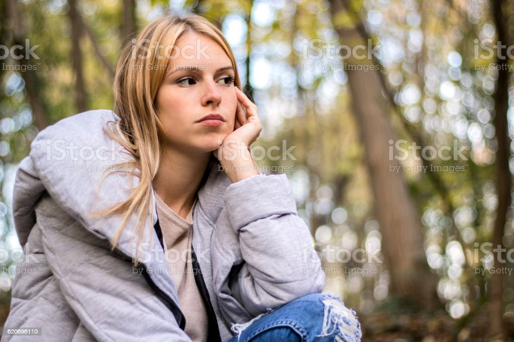 Saying 'I'm tired' when you're actually sad stock photo
