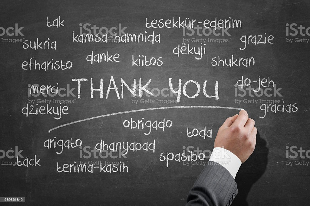 Saying thank you in different languages stock photo
