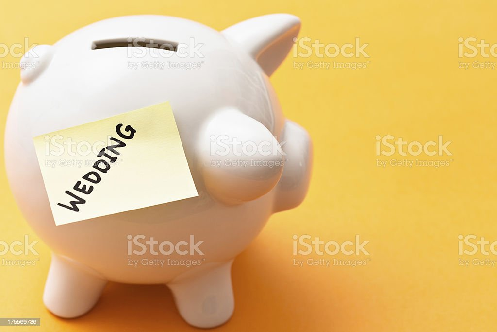 WEDDING says label on piggybank, well worth saving for! stock photo