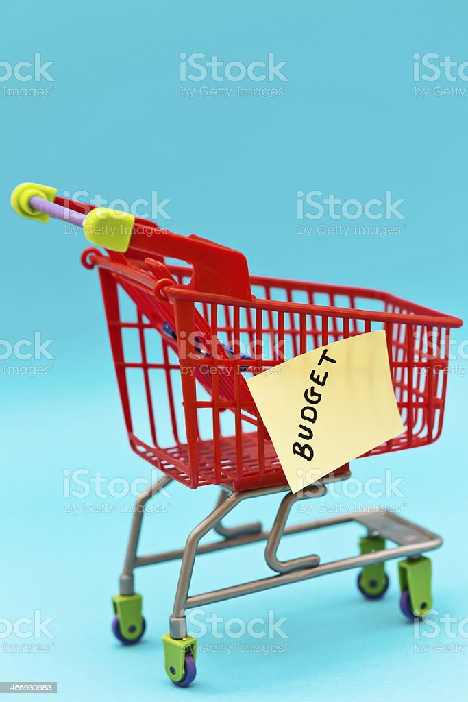 BUDGET says label on tiny trolley: shop carefully! royalty-free stock photo