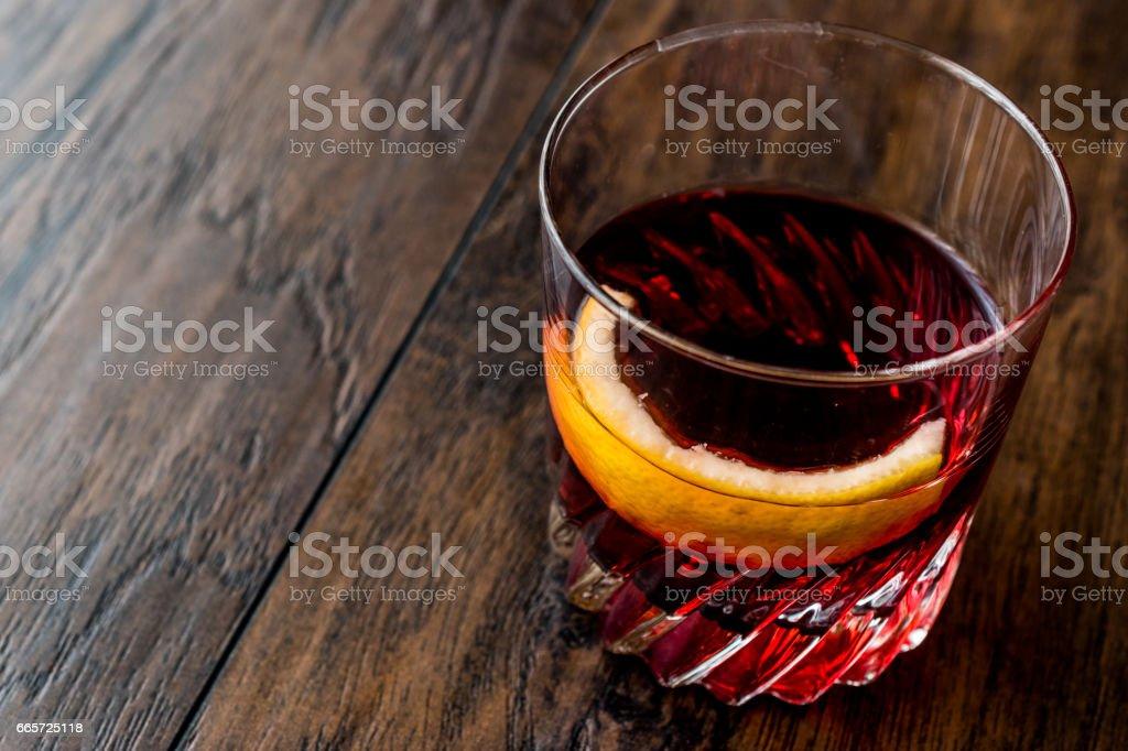 Sazerac Cocktail with lemon peel. stock photo