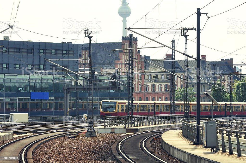 S-bahn passenger train approach to the platform. stock photo