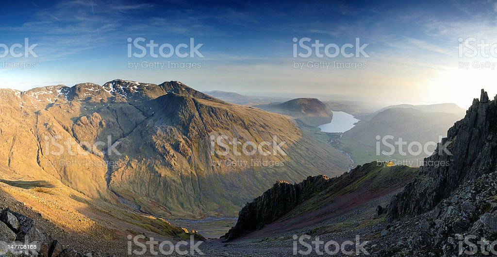 Scafell and Wasdale from Great Gable, English Lake District stock photo