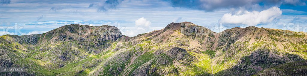 Scafell Pike England's highest peak mountain summit panorama Lake District stock photo