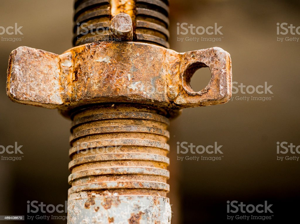 Scaffold adjustable rusty jack stock photo