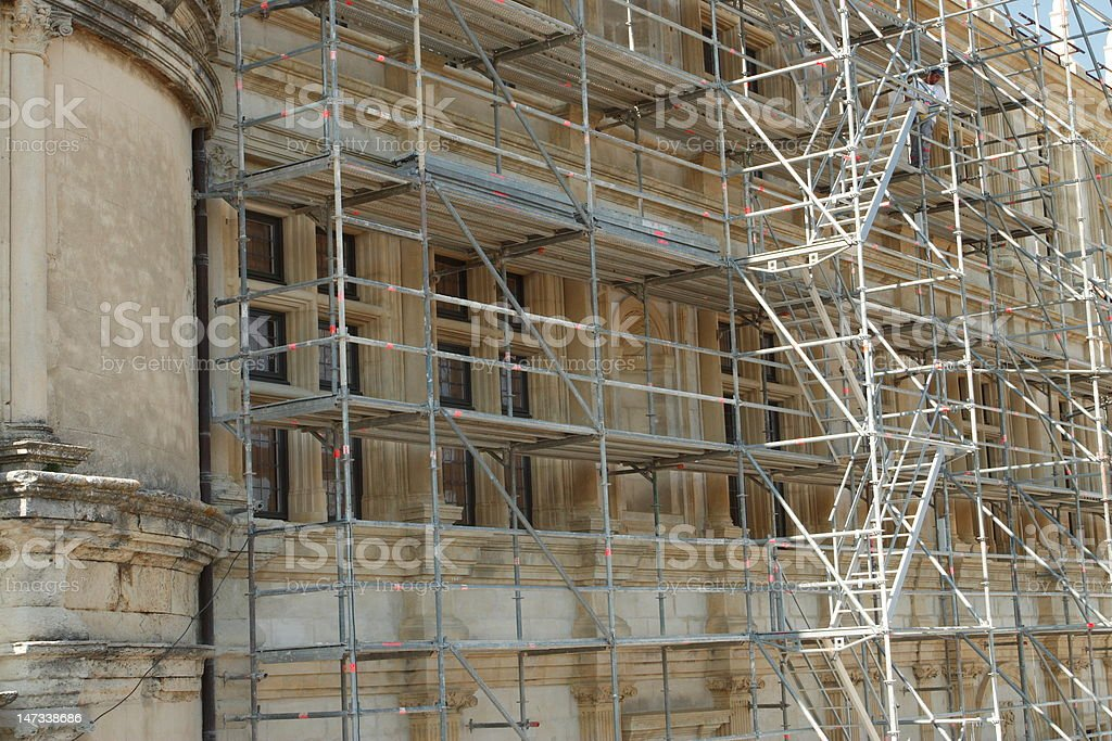 scaffold at old building royalty-free stock photo