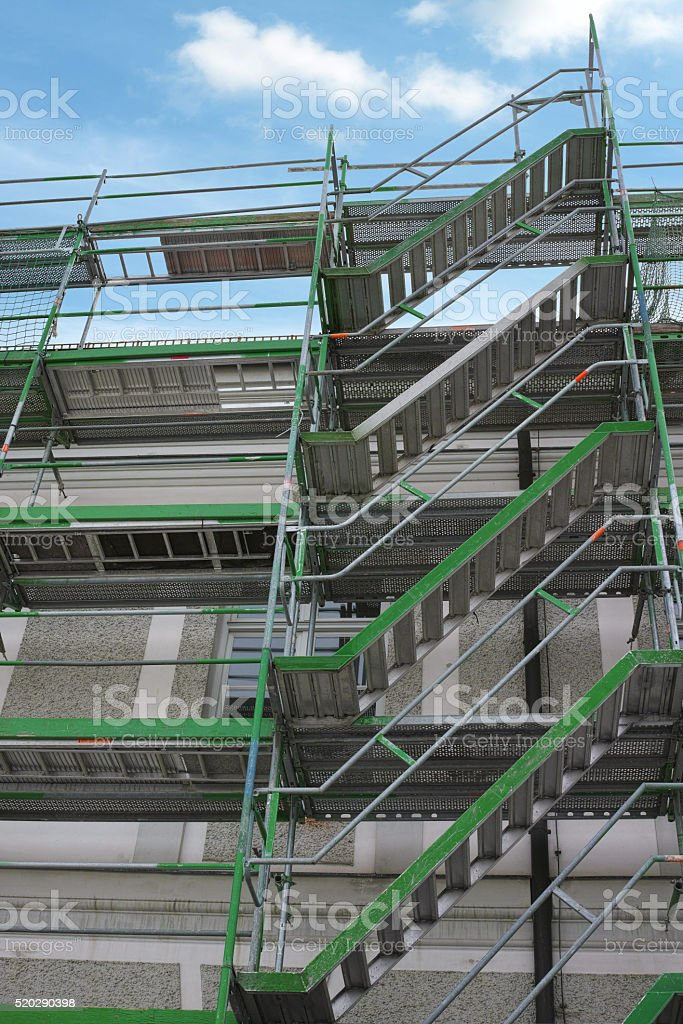 Scaffold for restoration of a building royalty-free stock photo