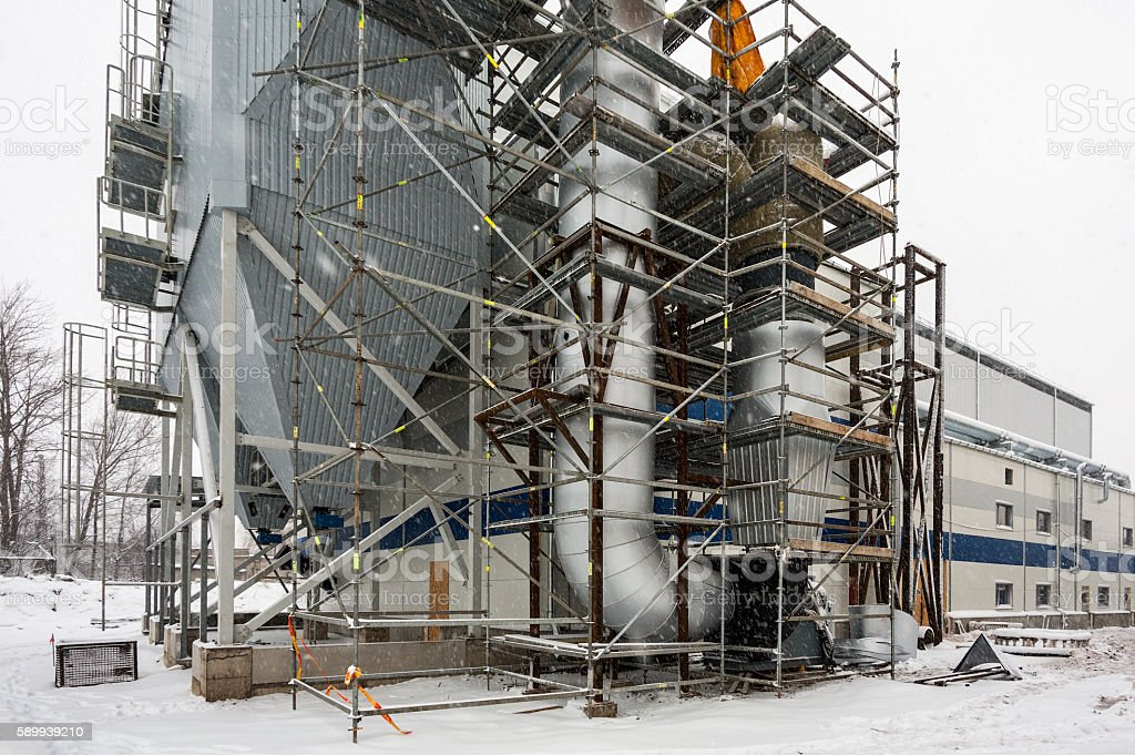 Scaffold in construction site stock photo