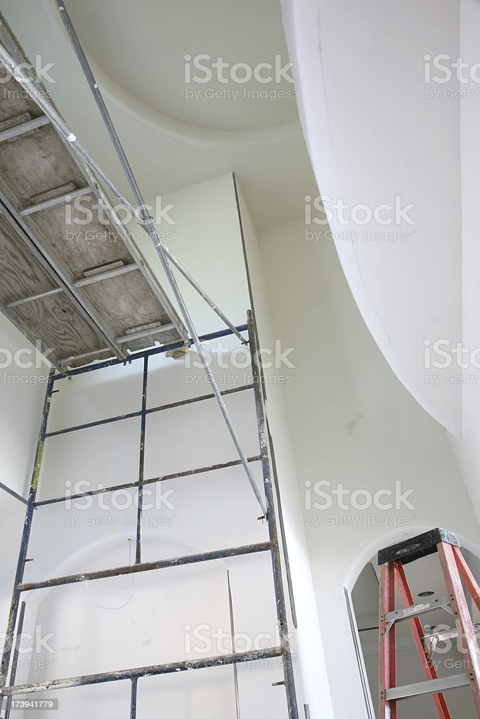 Scaffold in Home Interior Construction royalty-free stock photo