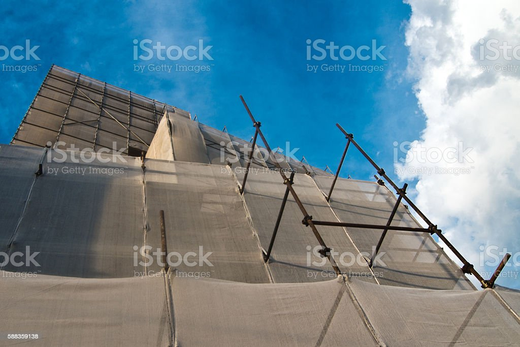 Scaffold of iron pipes for architecture works stock photo