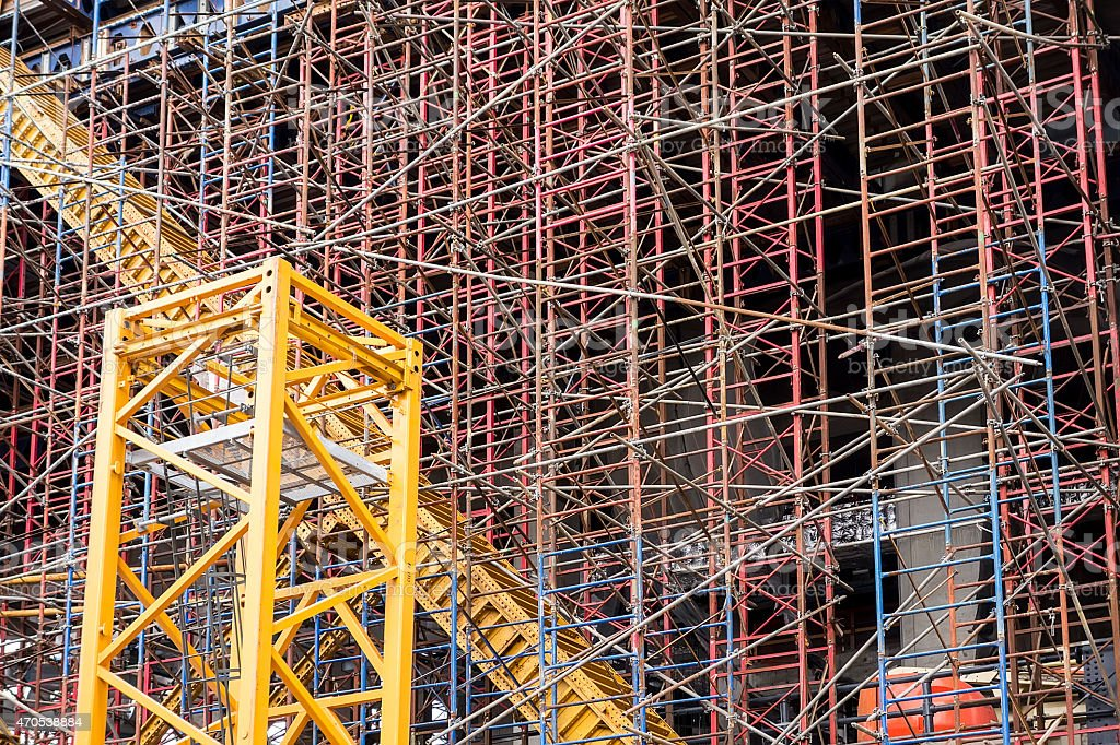 Scaffold Structure At Construction Site stock photo