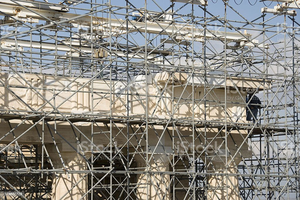 Scaffolding Acropolis royalty-free stock photo