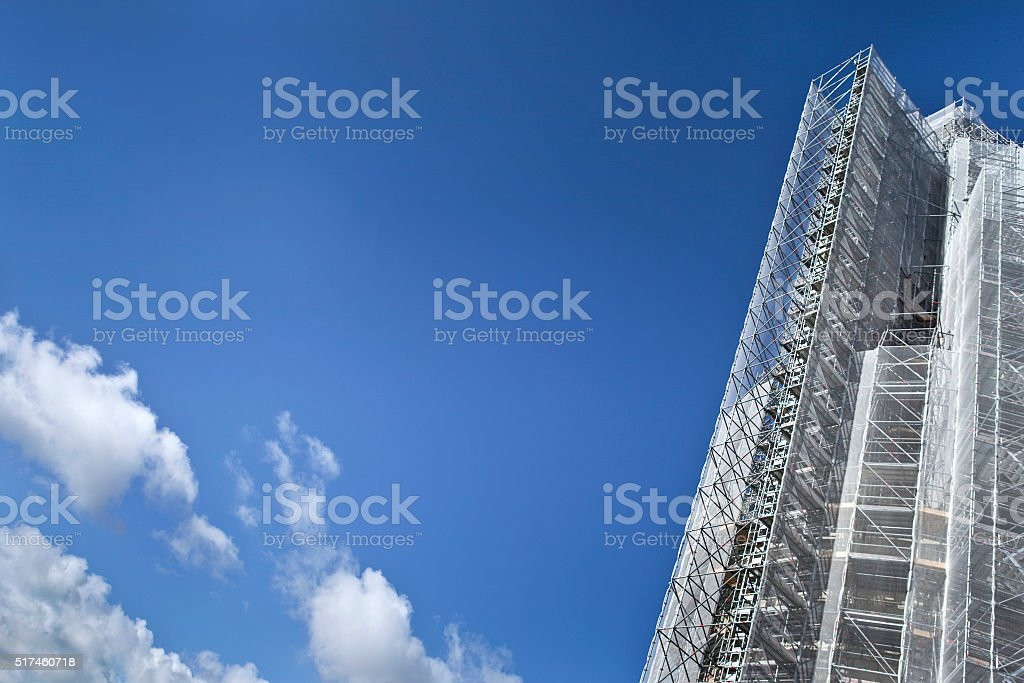 Scaffolding and blue sky stock photo