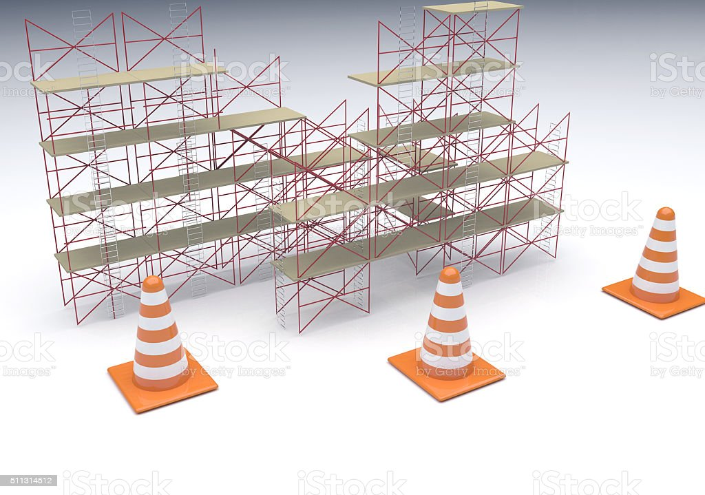 Scaffolding and Cone sign stock photo