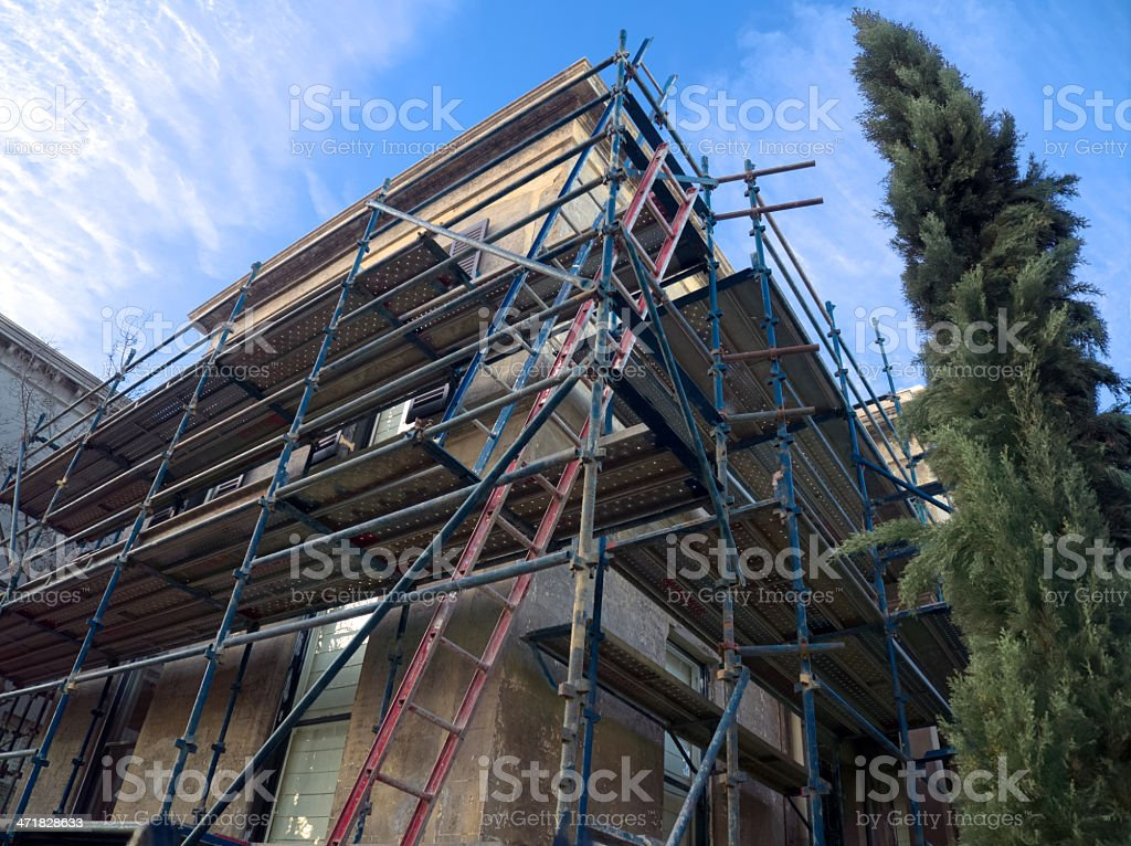 scaffolding for old building royalty-free stock photo