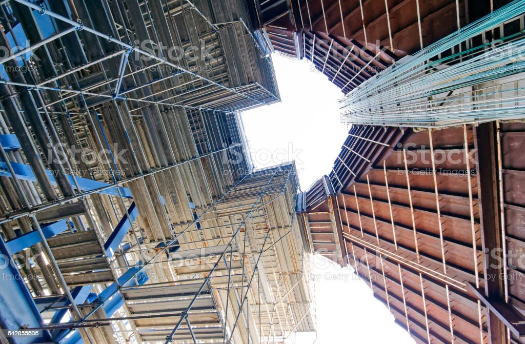 Scaffolding industrial power plant stock photo