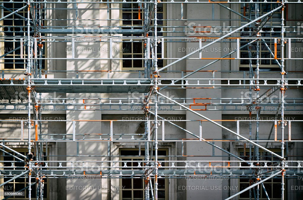 Scaffolding on a building stock photo