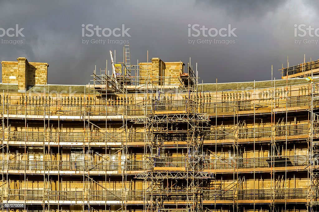 Scaffolding On A Project In Buxton stock photo