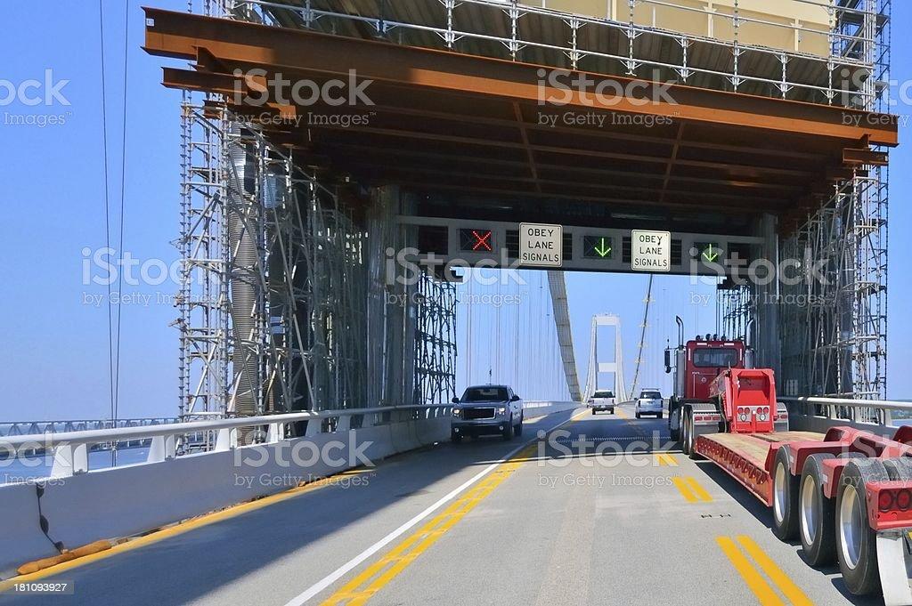 Scaffolding On Chesapeake Bay Bridge stock photo