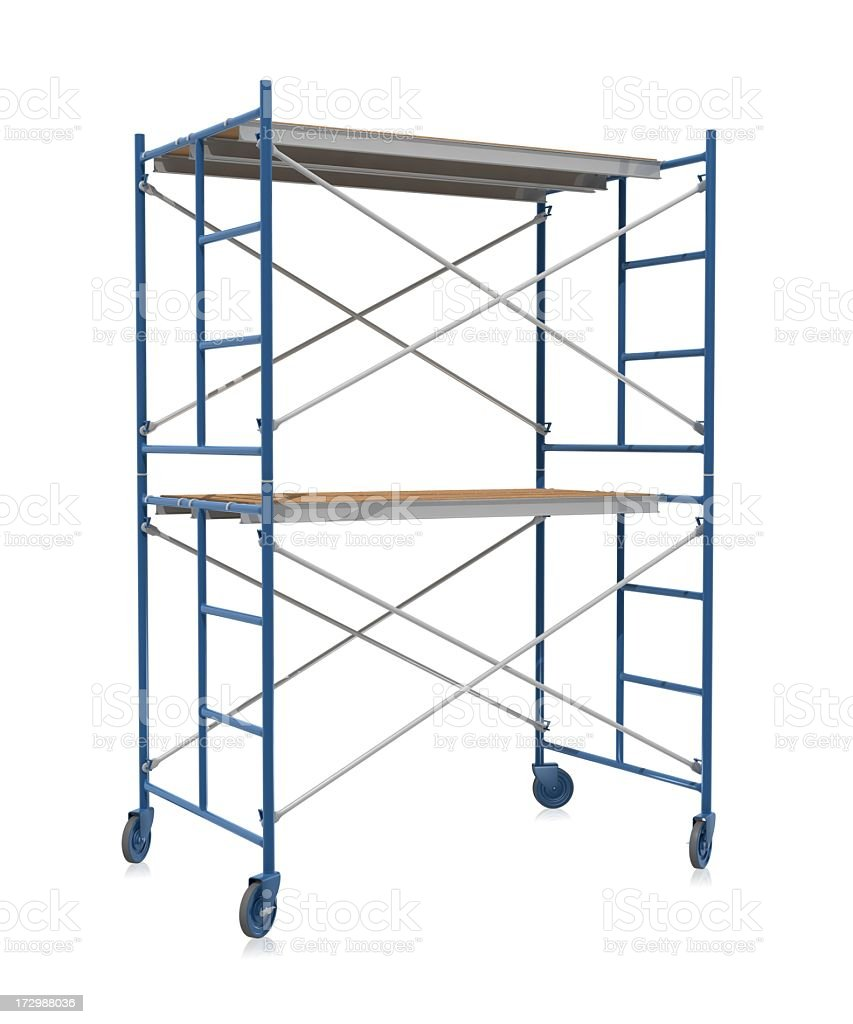 Scaffolding on wheels on a white background stock photo